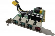 439755-001 Контроллер HP Powered USB Port Card 2-12V 4USB v.2.0 2x12v 1x24v PCI For POS Systems rp5700
